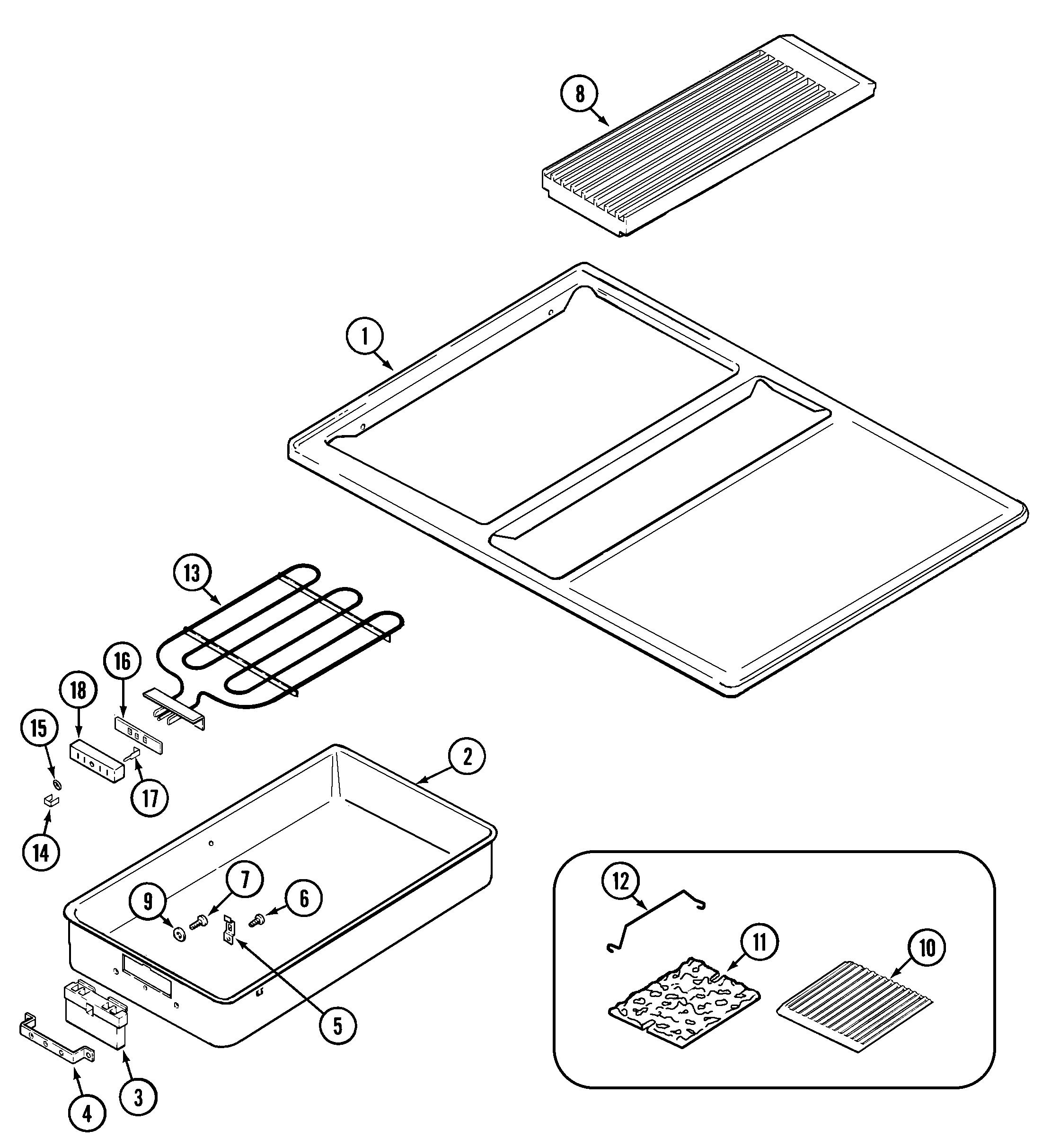 sve47100w electric slide-in range top assembly parts diagram