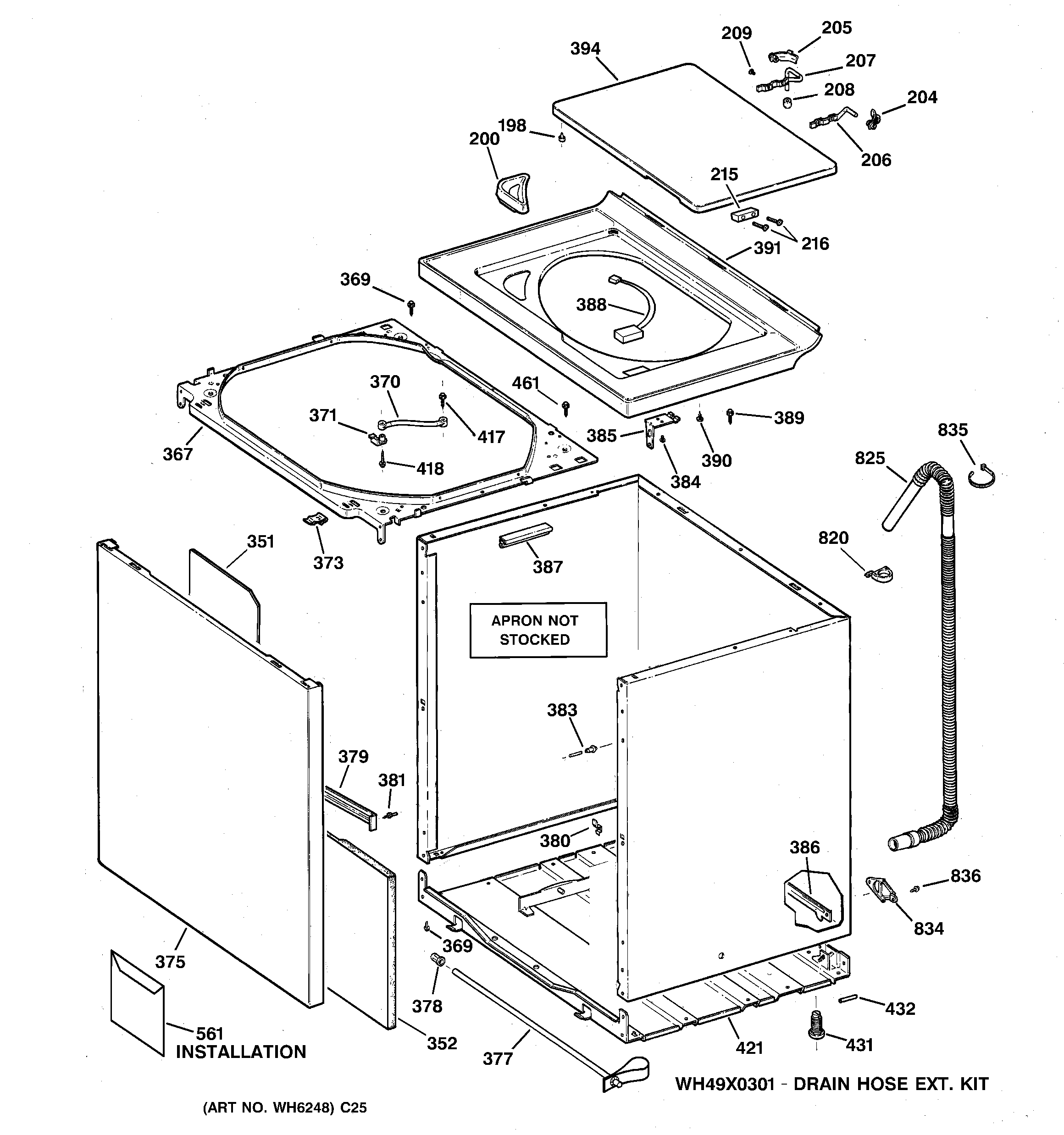 WNSB8060B0WW Washer Cabinet, cover & front panel Parts diagram