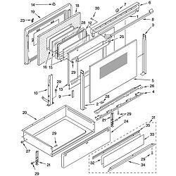 YKERC507HS4 Free Standing Electric Range Door and drawer Parts diagram
