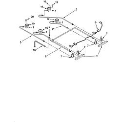 YKGRT607HS5 Free Standing Gas Range Cooktop burner Parts diagram