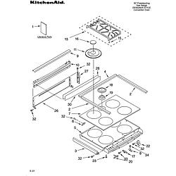YKGRT607HS5 Free Standing Gas Range Cooktop Parts diagram