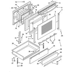 YKGRT607HS5 Free Standing Gas Range Door and drawer Parts diagram