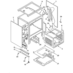 YKGRT607HS5 Free Standing Gas Range Oven chassis Parts diagram